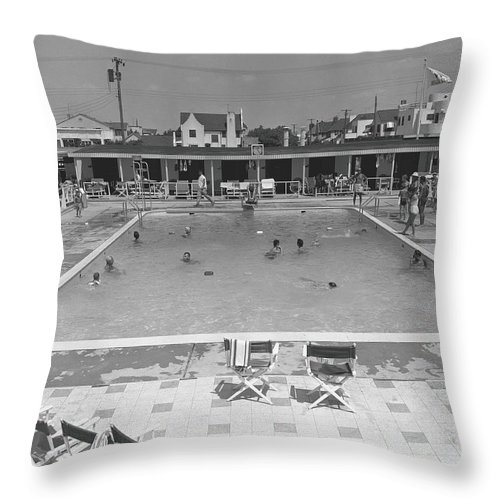 Rectangle Throw Pillow featuring the photograph People Swimming In Pool, B&w, Elevated by George Marks