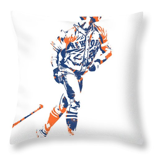 Pete Alonso Throw Pillow featuring the mixed media Pete Alonso New York Mets Pixel Art 2 by Joe Hamilton