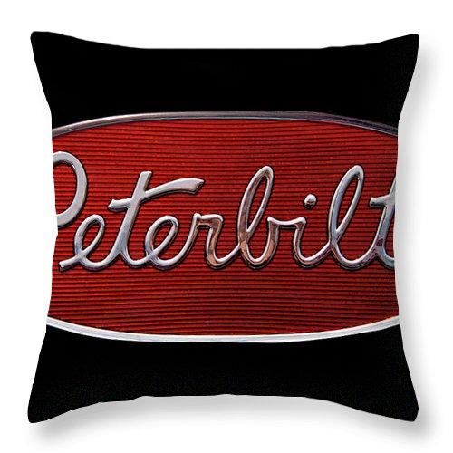 Peterbilt Throw Pillow featuring the photograph Peterbilt Emblem Black by Nick Gray