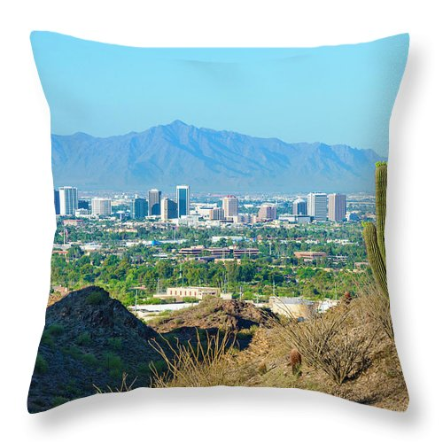Saguaro Cactus Throw Pillow featuring the photograph Phoenix Skyline Framed By Saguaro by Dszc