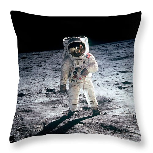Dust Throw Pillow featuring the photograph Photograph Of Edwin Aldrin Taken During by Michael Dunning