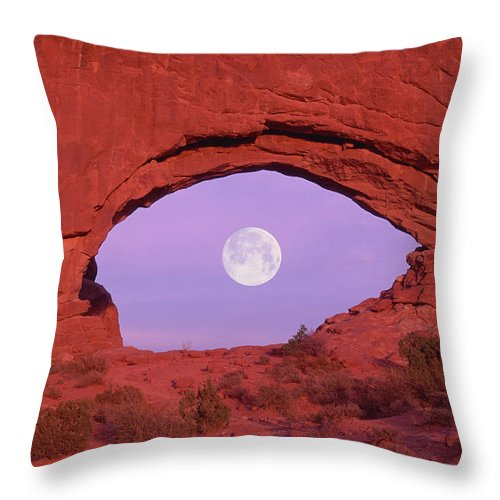 Scenics Throw Pillow featuring the photograph Photographer At Window At Arches by Grant Faint