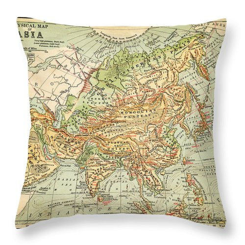 Burnt Throw Pillow featuring the digital art Physical Map Of Asia by Thepalmer