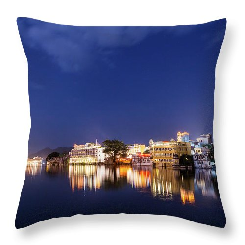 Tranquility Throw Pillow featuring the photograph Pichola Lake Night View by Greenlin