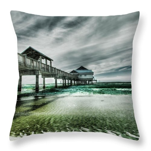 Water's Edge Throw Pillow featuring the photograph Pier by Chumbley Photography