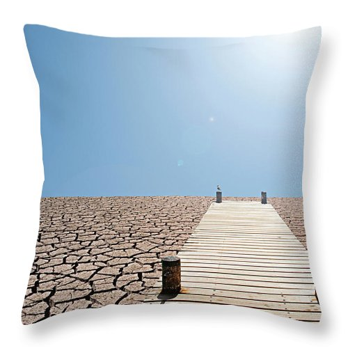 Environmental Damage Throw Pillow featuring the photograph Pier Over A Dry Lake Bed by John Lund