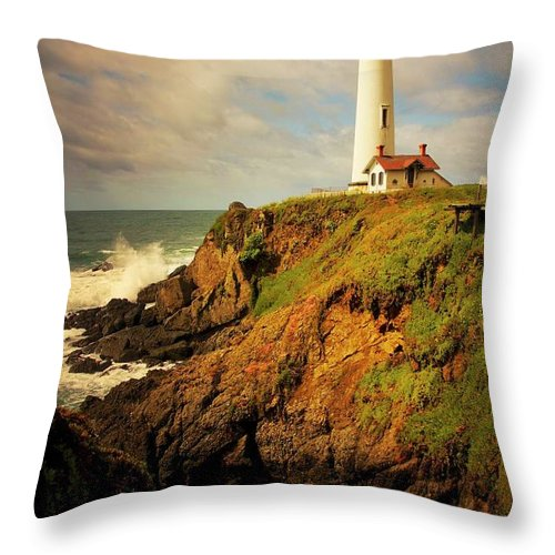 Pigeon Point Light House Throw Pillow featuring the photograph Pigeon Point Light Station, California by Zayne Diamond Photographic