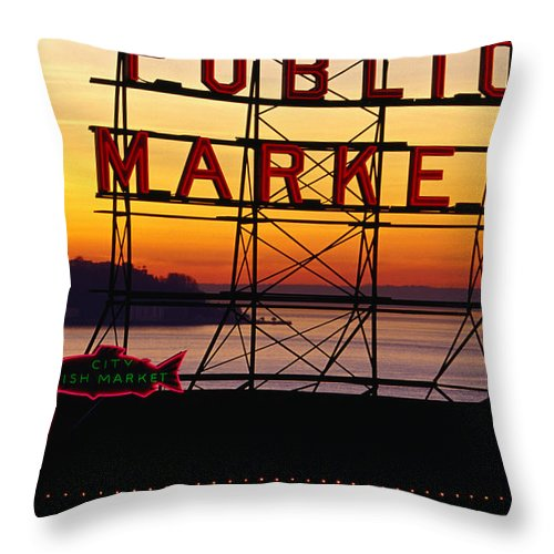 Ferry Throw Pillow featuring the photograph Pike Place Market Sign, Seattle by Lonely Planet