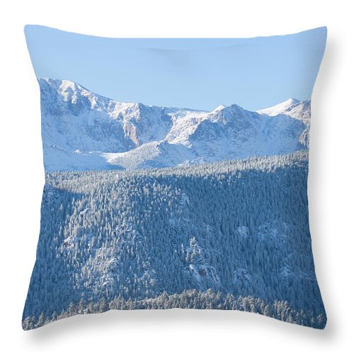 Extreme Terrain Throw Pillow featuring the photograph Pikes Peak In Fresh Snow by Swkrullimaging