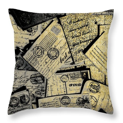 Postage Throw Pillow featuring the photograph Piled Paper Postcards by Jorgo Photography - Wall Art Gallery