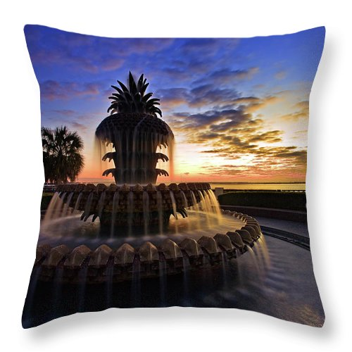 Tranquility Throw Pillow featuring the photograph Pineapple Fountain In Charleston by Sam Antonio Photography