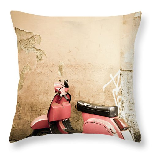 Desaturated Throw Pillow featuring the photograph Pink Scooter And Roman Wall, Rome Italy by Romaoslo