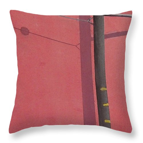 Throw Pillow featuring the painting Pink wall by Philip Fleischer