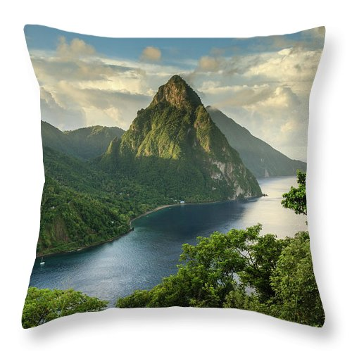 Nature Throw Pillow featuring the photograph Piton View - Saint Lucia by Paul Baggaley