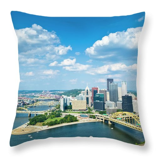 Arch Throw Pillow featuring the photograph Pittsburgh, Pennsylvania Skyline With by Drnadig