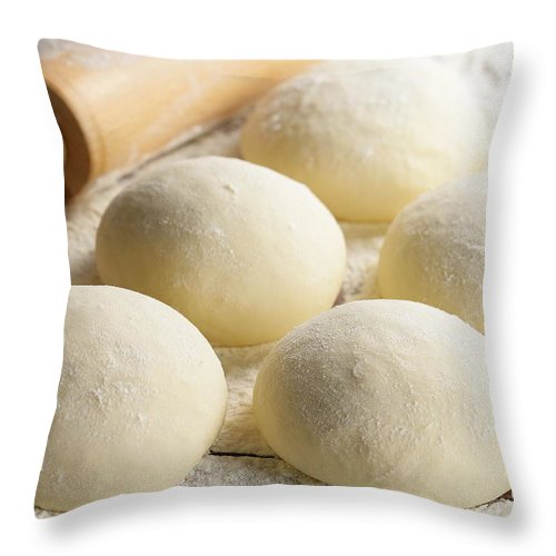 Rolling Pin Throw Pillow featuring the photograph Pizza Doughs by Foodad / Multi-bits