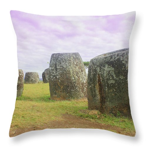 Plain Throw Pillow featuring the photograph Plain Of Jar by Duang NGEUNTHEPPHADA