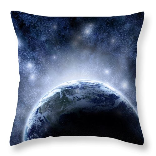 Outdoors Throw Pillow featuring the digital art Planet Earth And Stars by Nicholas Monu