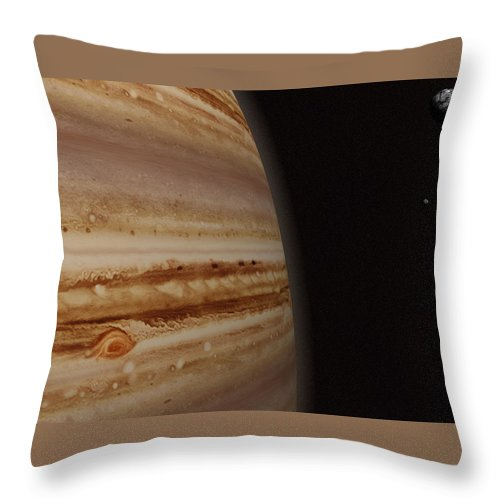 Black Color Throw Pillow featuring the photograph Planet Jupiter And A Distant Moon by Jason Reed