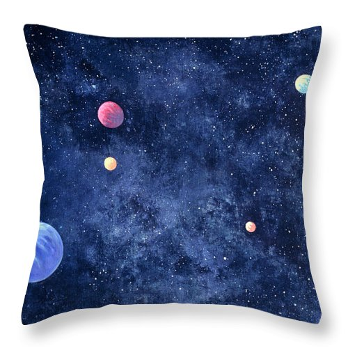 The Media Throw Pillow featuring the photograph Planets In Solar System by Huntstock