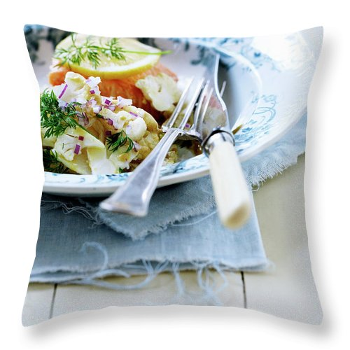 Copenhagen Throw Pillow featuring the photograph Plate Of Pasta With Fish by Line Klein