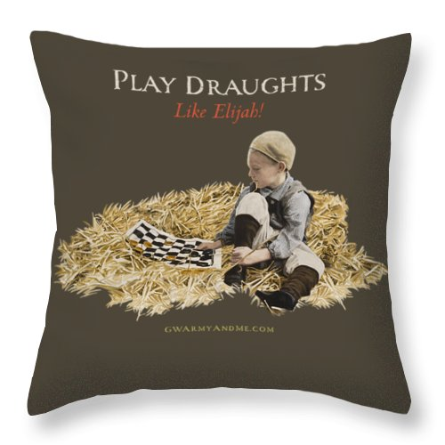 Draughts Throw Pillow featuring the painting Play Draughts Like Elijah by 18th Century Slang