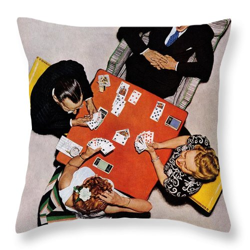 Bridge Throw Pillow featuring the drawing Playing Cards by Norman Rockwell