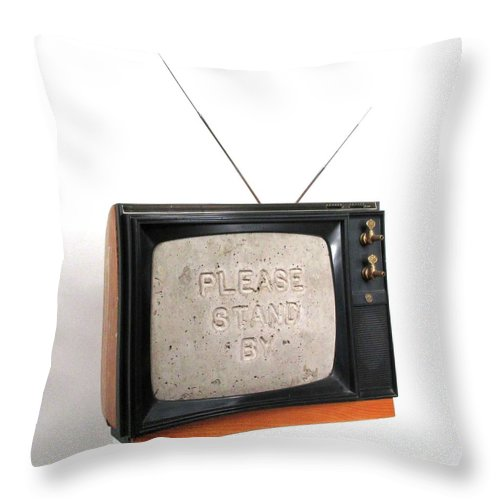 Czappa Throw Pillow featuring the sculpture Please Stand by by Bill Czappa