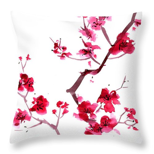 Watercolor Painting Throw Pillow featuring the digital art Plum Blossom Painting by Kaligraf