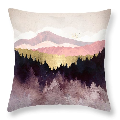 Plum Throw Pillow featuring the digital art Plum Forest by Spacefrog Designs