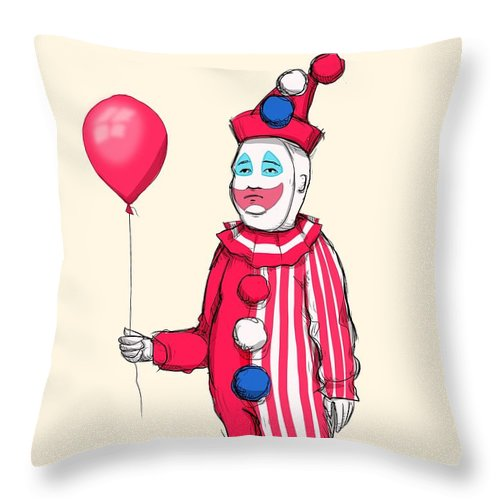 John Wayne Gacy Throw Pillow featuring the drawing Pogo Hill by Ludwig Van Bacon