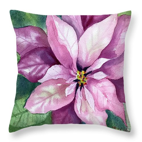 Poinsettia Throw Pillow featuring the painting Poinsettia by Hilda Vandergriff