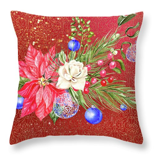 Poinsettia Throw Pillow featuring the digital art Poinsettia With Blue Ornaments by Ruth Moratz