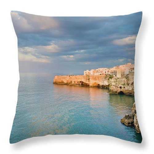 Adriatic Sea Throw Pillow featuring the photograph Polignano A Mare On The Adriatic Sea by David Madison