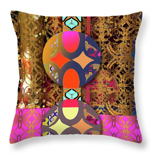 Abstract Shapes And Pattern Throw Pillow featuring the digital art Pompoms At The Gate by Ceil Diskin
