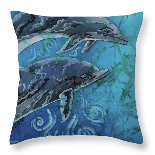 Porpoise Throw Pillow featuring the painting Porpoise Pair - Close Up by Sue Duda