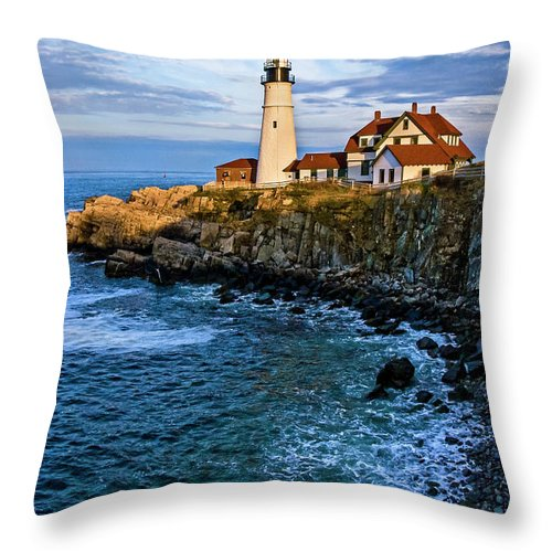 Built Structure Throw Pillow featuring the photograph Portland Head Light by C. Fredrickson Photography