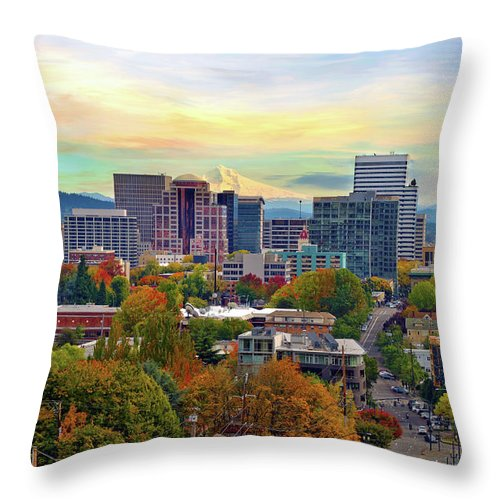 Viewpoint Throw Pillow featuring the photograph Portland Oregon Downtown Cityscape In by David Gn Photography