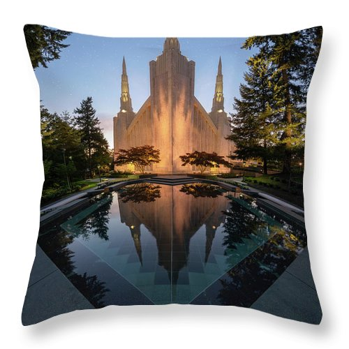 Latter Day Saints Throw Pillow featuring the photograph Portland Temple Night by Dustin LeFevre