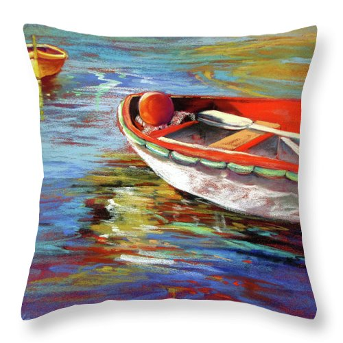Seascape Throw Pillow featuring the painting Portofino Drift by Rae Andrews