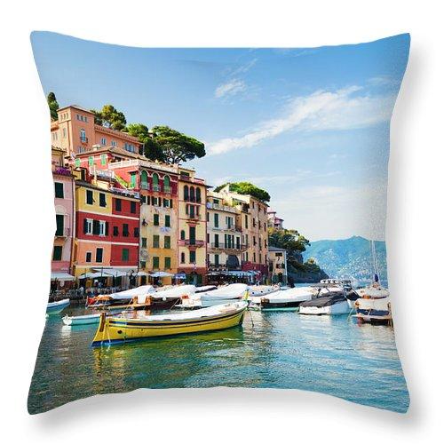 Water's Edge Throw Pillow featuring the photograph Portofino, Liguria, Italy by Brzozowska
