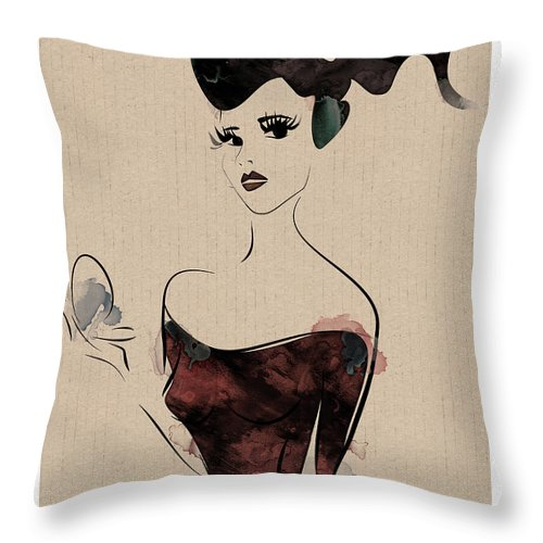 Woman Throw Pillow featuring the digital art Portrait Of A Girl With Make Up Powder by Aleks