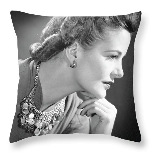 People Throw Pillow featuring the photograph Portrait Of A Thinking Woman by George Marks