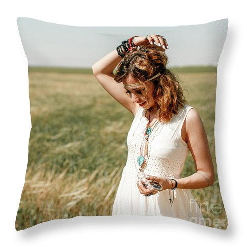 Portrait Of A Young Girl In A White Translucent Dress In Boho Or Throw Pillow For Sale By Azat Jandurdyyev
