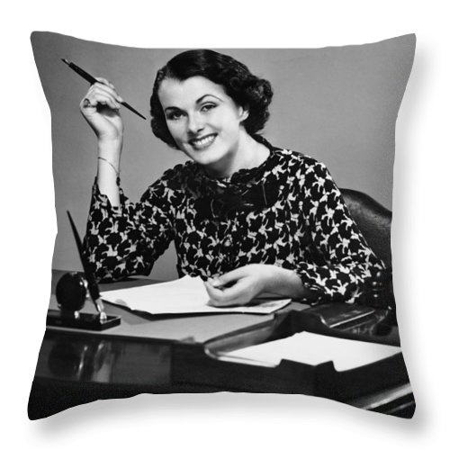 Corporate Business Throw Pillow featuring the photograph Portrait Of Businesswoman At Desk by George Marks