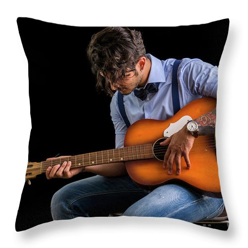Portrait Of Cheerful Man With Guitar Throw Pillow For Sale By Stefano Cavoretto