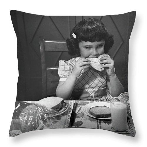 Milk Throw Pillow featuring the photograph Portrait Of Little Girl Eating Buttered by George Marks