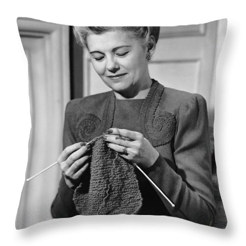 Mature Adult Throw Pillow featuring the photograph Portrait Of Mature Woman Crocheting by George Marks