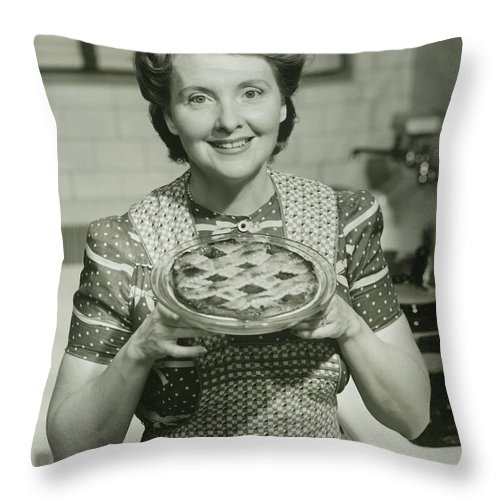 Mature Adult Throw Pillow featuring the photograph Portrait Of Mature Woman Holding Pie by George Marks