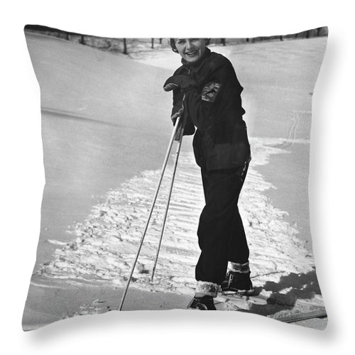 People Throw Pillow featuring the photograph Portrait Of Skier by George Marks